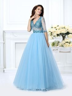 Prom Dresses Elegant, stylish ball gown beading 1 2 sleeves v neck long satin quinceanera dresses 50276 , Mermaid prom dresses, two piece prom gowns, sequin prom dresses & you name it - our 2020 prom collection has everything you need! Fitted Prom Dresses, Plus Size Party Dresses, High Low Prom Dresses, Prom Dresses For Teens, Designer Prom Dresses, Prom Dresses Blue, Mermaid Prom Dresses, Satin Dresses, Quince Dresses