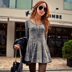 Scoop-Neck Godet Mini Dress for the Colder Months