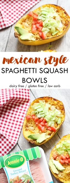 These Mexican Style Spaghetti Squash bowls are packed with Mexican flavors and fresh toppings. Dairy free, gluten free, paleo, and low carb. // Lean, Clean, & Brie