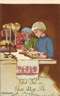 Martta Wendelin Christmas Past, Merry Christmas And Happy New Year, Christmas Cards, Norwegian Christmas, Scandinavian Christmas, Vintage Cards, Vintage Postcards, I Love You Words, Childrens Christmas