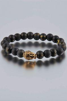 Dyom 8MM Desert Sun Bracelette with Gold Buddha $39.99 33% off retail