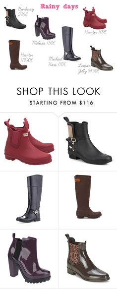 Rainy Boots by soraiadpereira on Polyvore featuring Burberry, MICHAEL Michael Kors, Hunter, Melissa and Lemon Jelly