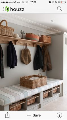 hallway storage or bootroom storage solution with comfy bench, coat hooks and storage cupboard custom built by mowlem & co .with these boot room ideas Boot Room Utility, Utility Room Ideas, Rooms Ideas, Cupboard Storage, Boot Room Storage, Storage Baskets, Hallway Storage Bench, Entryway Bench, Coat And Shoe Storage