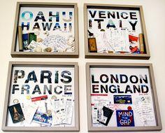 Crie quadros para cada viagem que voce fizer - junte souvenires, bilhetes, mapas, e tudo mais que acabaria ficando guardado numa caixa no armario.