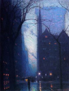 """""""Fifth Avenue at Twilight"""" ~ Lovell Birge Harrison, c.1910. Source: the-athenaeum.org."""