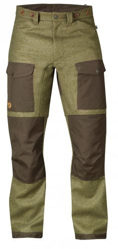 Fjallraven Forest Trousers - Robust and well-equipped hunting trousers in exclusive Shetland wool from Abraham Moon. Exposed areas at the knees, back and leg endings are reinforced with HeavyDuty that can be waxed for enhanced durability. Hunting Clothes, Hunting Gear, Wool Hunting Pants, Outdoor Outfit, Outdoor Gear, Tactical Clothing, Tactical Shirt, Camping, Backpacking