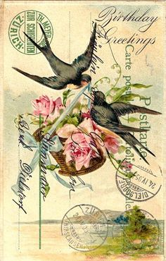ideas for birthday card illustration vintage postcards Floral Vintage, Vintage Diy, Vintage Labels, Vintage Ephemera, Vintage Paper, Vintage Flowers, Vintage Postcards, Vintage Prints, Pink Flowers