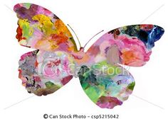 Stock Illustration - Pastel Painted Butterfly - stock illustration, royalty free illustrations, stock clip art icon, stock clipart icons, logo, line art, pictures, graphic, graphics, drawing, drawings, artwork
