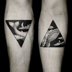 whale, dream, triangle, geometric, abstract tattoo