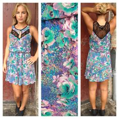 Neon Floral Print with Lace Dress - $39.50