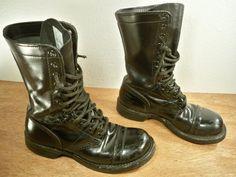 Vintage Corcoran Black Leather Combat Men's NonSteel by Joeymest, $100.00