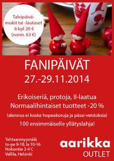 Aarikan Fanipäivät alkavat huomenna torstaina 27.11. Tule tekemään ostoksia kivaan hintaan.