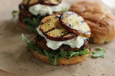 Turkey Burgers With Goat Cheese And Grilled Peaches