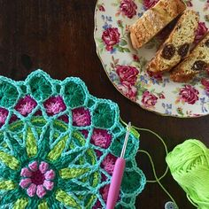 Favourite Mandala, Favourite Plate and I've discovered the most delicious biscuits from @thegoodgrocerwa - Italian Figs Cantucci  locally made too  perfect   .  .  #craft #crochet #crochetaddict #jennysmandala #littleboxofcrochet #vintagechina #chintzchina #royalwinton #thegoodgrocerwa  #italianfigscantucci