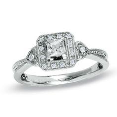 1/3 CT. T.W. Princess-Cut Diamond Framed Milgrain Ring in 14K White Gold