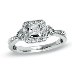 1/3 CT. T.W. Princess-Cut Diamond Framed Milgrain Ring in 14K White Gold