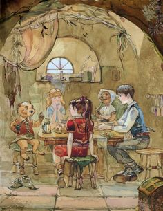 Narnia on Behance -- The children with Mr. and Mrs. Beaver