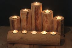 Top Seller! Deluxe Set of 6 Montana Made Real Lodgepole Wood Log Candle Tea Light Holders Rustic Cabin Decor Fireplace Mantel Country Farm