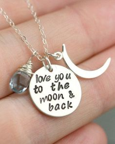 Silver I love you to the moon and back mothers birthstone necklace. What a perfect personalized mothers necklace. Great mothers day gift or mom Christmas gift. Pin now to save for later!