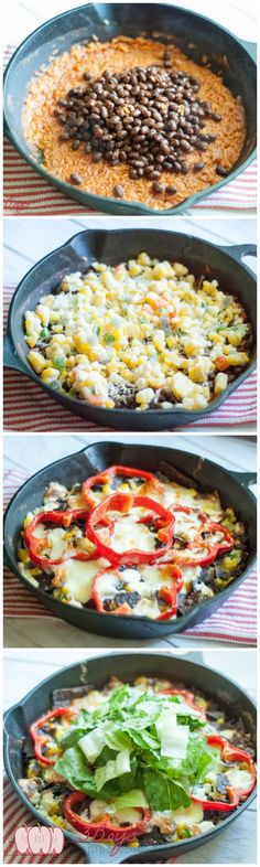 Healthy Loaded Nacho Skillet with all the goodness of nachos PLUS some extra veggies, brown rice, and black beans. Hello football season!