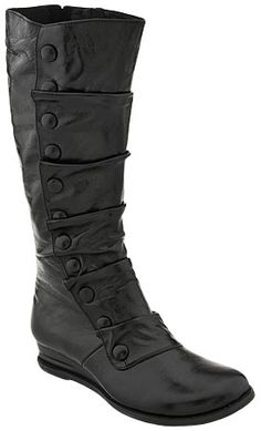 Black leather boots with button detail