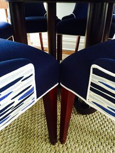 Detail: Leopold Group Designed Custom Upholstered Dining Chairs In LULU DK  Fabric; Robert