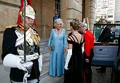 Another lovely view of Camilla's dress.  Prince Charles Prince of Wales Camilla Duchess Of Cornwall attends The Duke of Wellington's Waterloo banquet at Apsley House on June 18 2015 | Getty Images