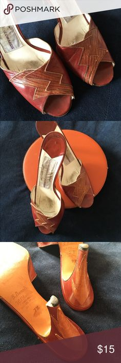 Susan Benis Warren Edwards Stilleto Genuine leather. Beautiful details. Lovely caramel color. One heel rubber tip needs to be replaced, a quick & inexpensive trip to the cobbler. Made in Italy. Purchased at Henri Bendel New York for a lot of $$. Has a long way to go.✨FIRM unless bundled✨Buy any 2 $15 items for $25✨ henri bendel Shoes Heels
