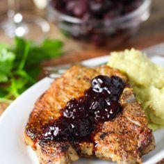 Pork Chops with Cherry Sauce | platingsandpairings.com