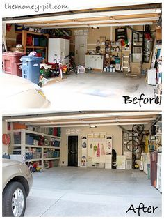 "Organizing (and installing a ""mudroom"" in) the Garage Our house doesn't have space for a real mudroom, so I installed some built-ins in the garage to act as one. I al..."