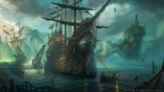 This HD wallpaper is about brown and black pirate ship, League of Legends, Bilgewater, fantasy art, Original wallpaper dimensions is file size is League Of Legends, Fantasy Art Landscapes, Fantasy Landscape, Dreamland, Gato Anime, Pirate Life, Pirates Of The Caribbean, Ship Art, Battleship