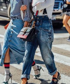 Fall street style fashion / Fashion week denim looks Street Looks, Look Street Style, Autumn Street Style, Street Chic, High Street Fashion, Moda Fashion, Denim Fashion, Fashion Outfits, Fashion Tips