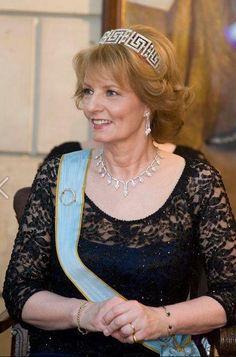 Crown Princess Margareta of Romania, wearing the greek key tiara. Royal Tiaras, Tiaras And Crowns, Romanian Royal Family, Royal Hairstyles, Royal Family Trees, Royal Families Of Europe, Grand Duchess Olga, Diamond Tiara, Royal Jewelry