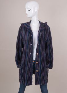 Purple, Navy, and Grey Soft Stripe Mohair Buttoned Hooded Jacket
