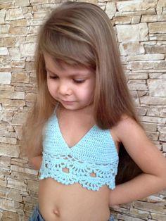 Crochet toddler baby top bra Light blue open back cotton top