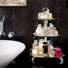 Love this purfume display - looks like a cake stand
