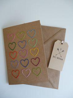 15 Hearts A5 Embroidered Kraft Card with Kraft #jackswishbone