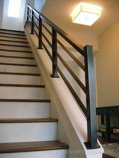 Leo Gaev Metalworks, Inc - Handrail Stairway Railing Ideas, Indoor Stair Railing, Staircase Railing Design, Interior Stair Railing, Modern Stair Railing, Home Stairs Design, Modern Stairs, Metal Handrails For Stairs, Wrought Iron Stair Railing