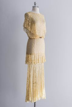 Light Yellow Lace Gown