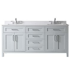 Home Decorators Collection Riverdale 60 in. W x 21 in. D Vanity in Dove Gray with a Cultured Marble Vanity Top in White with White Sink Riverdale - The Home Depot 60 Inch Vanity, 30 Vanity, Double Vanity, Double Bath, Vanity Units, Double Sink Bathroom, Bathroom Sink Vanity, Bath Vanities, Master Bathroom