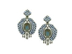 Laboradite And Sapphire Earrings