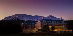 The Chateau Tongariro Hotel and Mount Ruapehu just before sunrise. https://www.picturedashboard.com