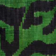 Oscar de la Renta Emerald/Black Abstract Printed Chenille Fabric by the Yard | Mood Fabrics