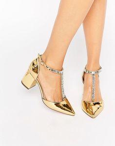 ASOS SANTIAGO Embellished Pointed Heels - Gold