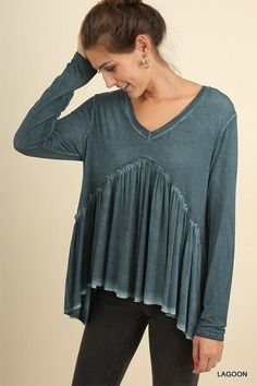 717c684fa99e9 Crazy In Love Mineral Washed Ruffled Top