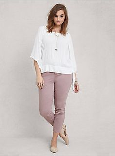 """<p>Dress up your denim in the most stylish silhouette of this season. With a short inseam cut right above the ankle, stretch fabric and a sophisticated rose wash, this ankle skinny is the perfect pair of jeans for showing off your hottest pair of shoes!</p>  <ul> <li>Rise: Mid, 10 3/8""""</li> <li>Size 18: 27"""" inseam, 5 1/2"""" leg opening</li> <li>98% cotton, 2% spandex</li> <li>Wash cold, dry low</li> <li>Imported plus size jeans</li> </ul>"""