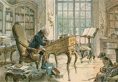 Frederick the Great (1712-1786) in his study. Illustration from House of Hohenzollern in Pictures and Words by Carl Rohling and Richard Sternfeld. Published by Martin Oldenbourg in Berlin, c 1900.