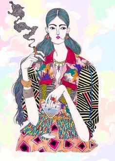 Jeremy Combot- Crazy Colored Fashion Illustration