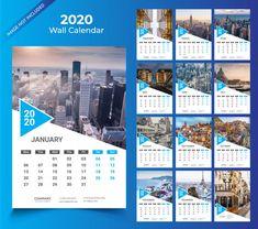 Wall calendar for 2020 template Premium .