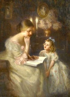 mother and child, reading